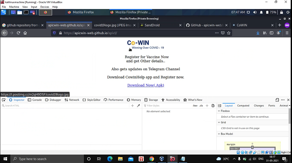 Fake COWin Website created by the Hacker