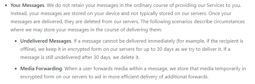 WhatsApp about encrypted chats on Privacy Policy