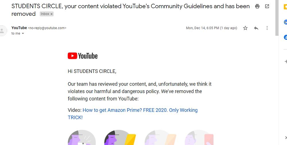 YouTube Community Guidelines Strike on STUDENTS CIRCLE