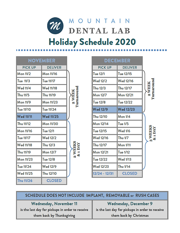 Holiday Schedule 2020 - Mountain Dental