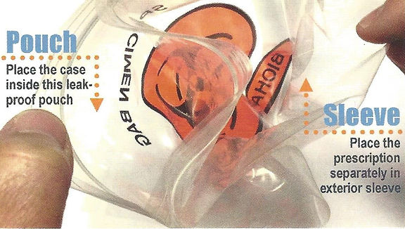 Biohazard Bags are used to safetly seal dental impressions in a leak-proof bag, while providing an exterior sleeve to place a prescription separately from the impression.