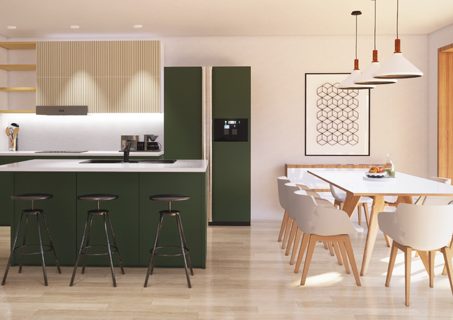 Kitchen Interior - Green and Light Wood