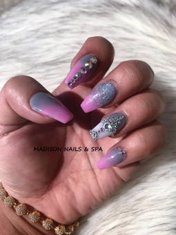 Ombre Pink and Gray with Gem design