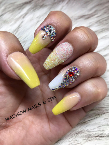 Fancy Nails with Ombre,Gems and sugar