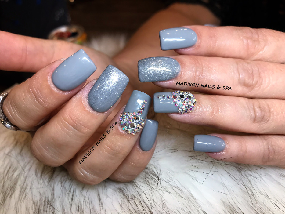 Acrylic Gray with Gems Design