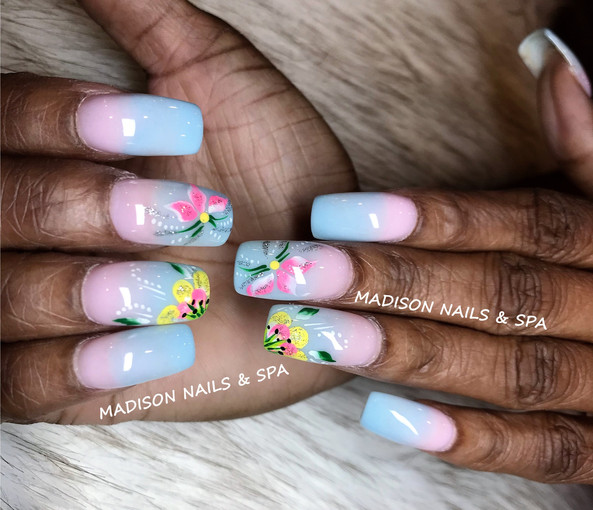 Ombre with Flower Design