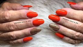 Acrylic Orange an Gold Glitter