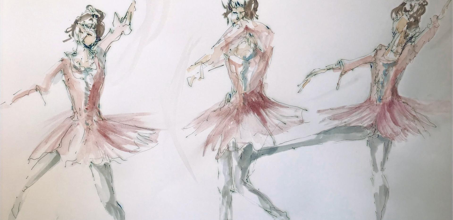 Coloured prep sketch for dancer