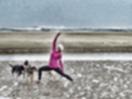 Dogs and Yoga in Florence, Oregon on the North Jetty