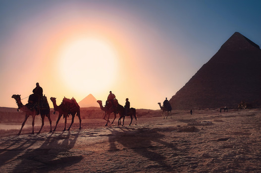 The Great Pyramids in sunset