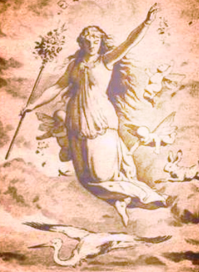 "Picture: is originally a black and white drawing called ""Ostara"" (1884) made by the German Johannes Gehrts. Copyrights unknown."