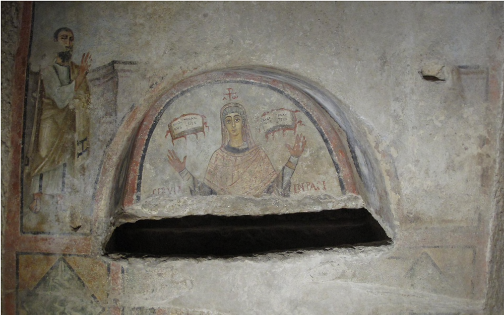 fresco showing woman as priest in Naples
