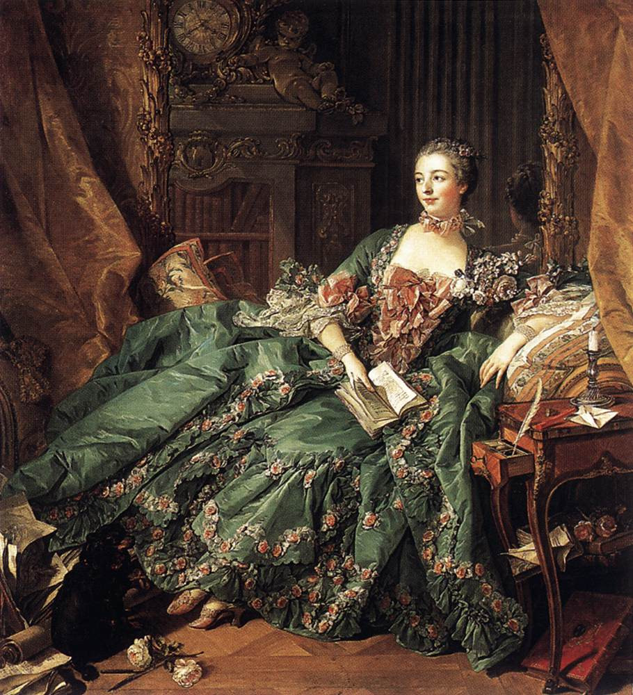 Madame de Pompadour in a green dress and a book in her hand.
