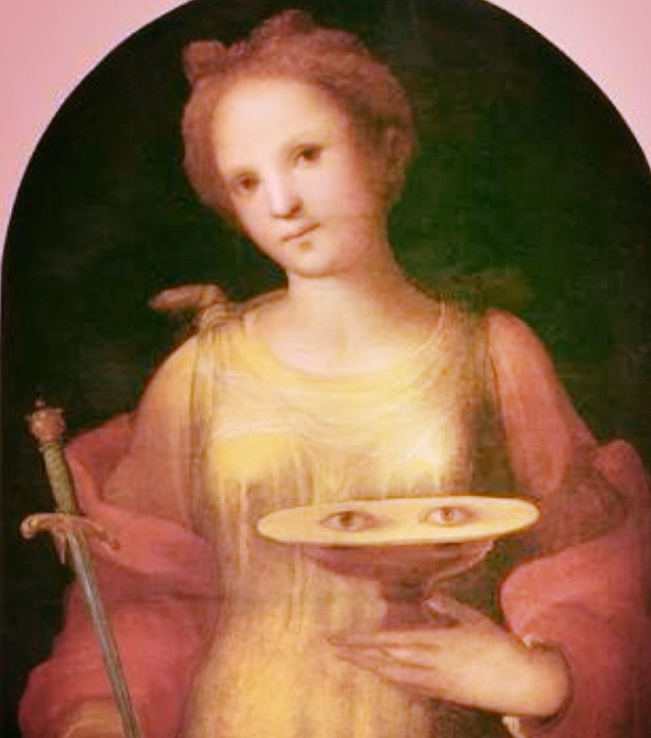 Saint Lucia from Italy with her eyes on a plate. Source: Google