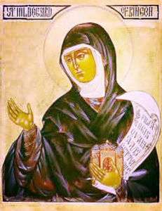Hildegard von Bingen with her Church in her hand. Source: google