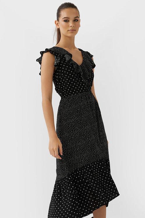 Vestido comprido patchwork com bolinhas - STRADIVARIUS - 26€