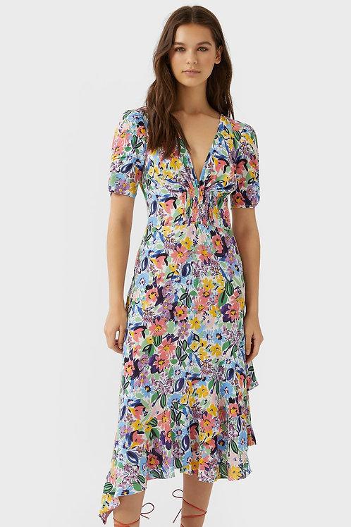 Vestido midi com folho e estampado floral - STRADIVARIUS - 30€