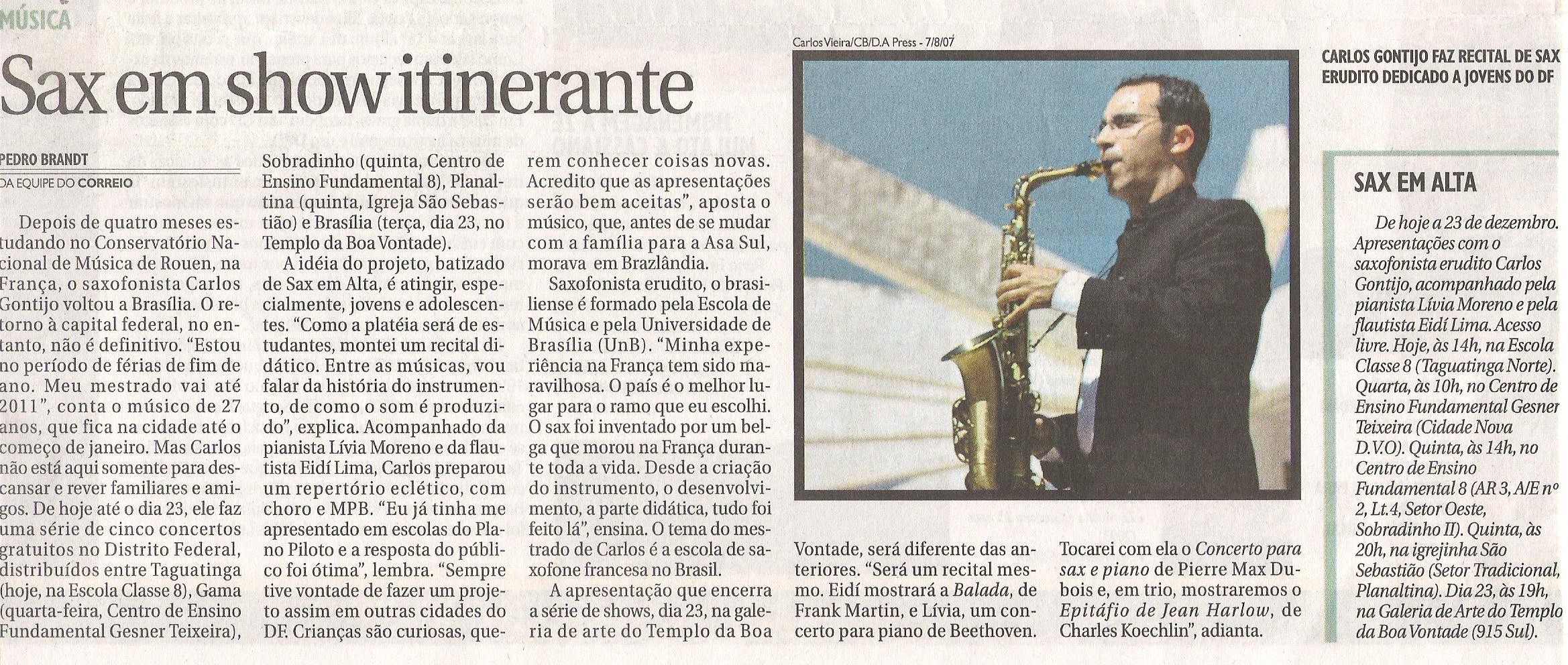Jornal Correio Braziliense out/2008