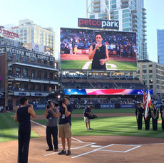 singing the US National Anthem