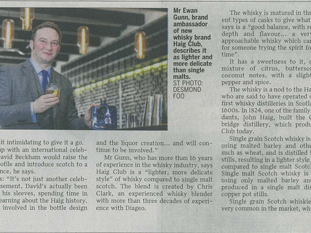 In The Media: Beckham launches single grain Scotch - Straits Times