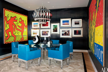 Home of Sir Elton John and David Furnish with photographs framed by voila! Framing in a custom silver ornate frames.
