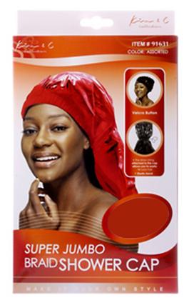 Super Jumbo Braid Shower Cap - Black