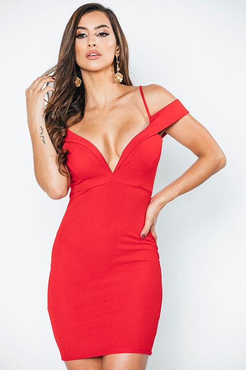 bodycon Rojo off the shoulder