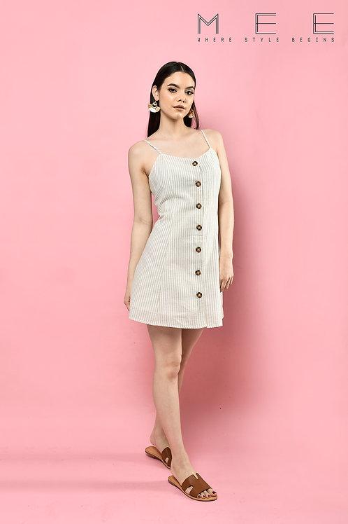 vestido rayas beige Botones criss cross espalda