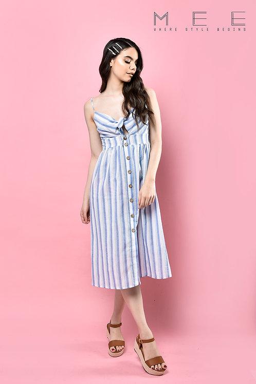 vestido rayas Celeste Midi