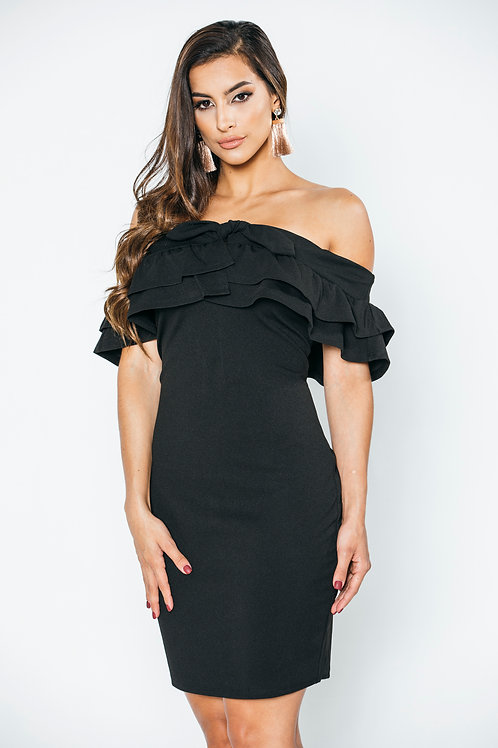 off the shoulder Ruffles Black Dress