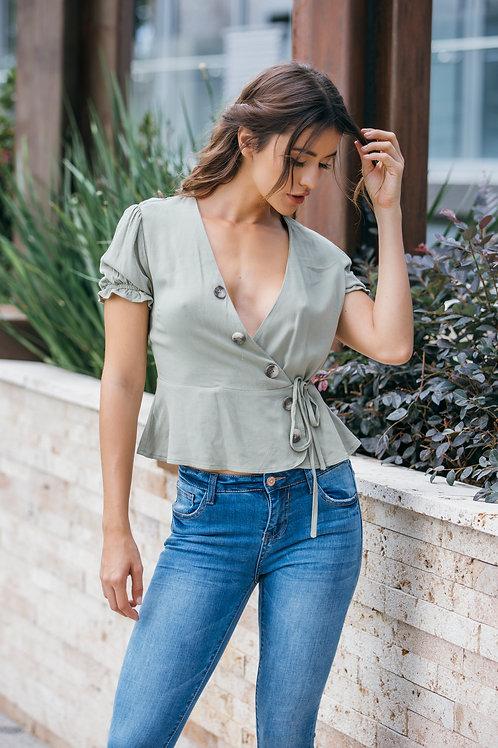 Blusa traslapada botones
