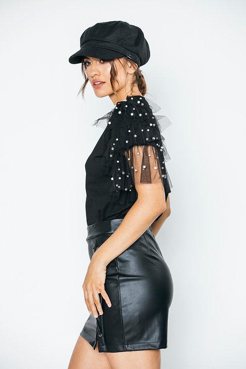blusa negra Maga perlas