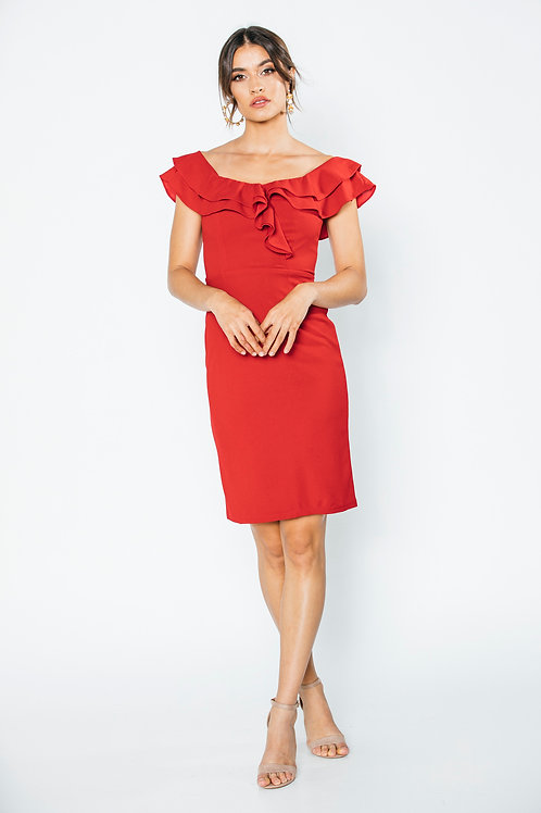 Ruffles off the shoulder RED dress