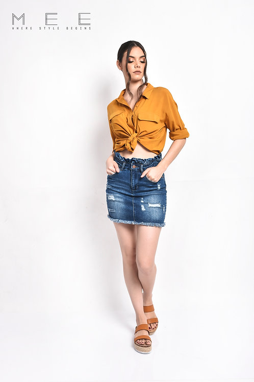 paper bag denim Skirt
