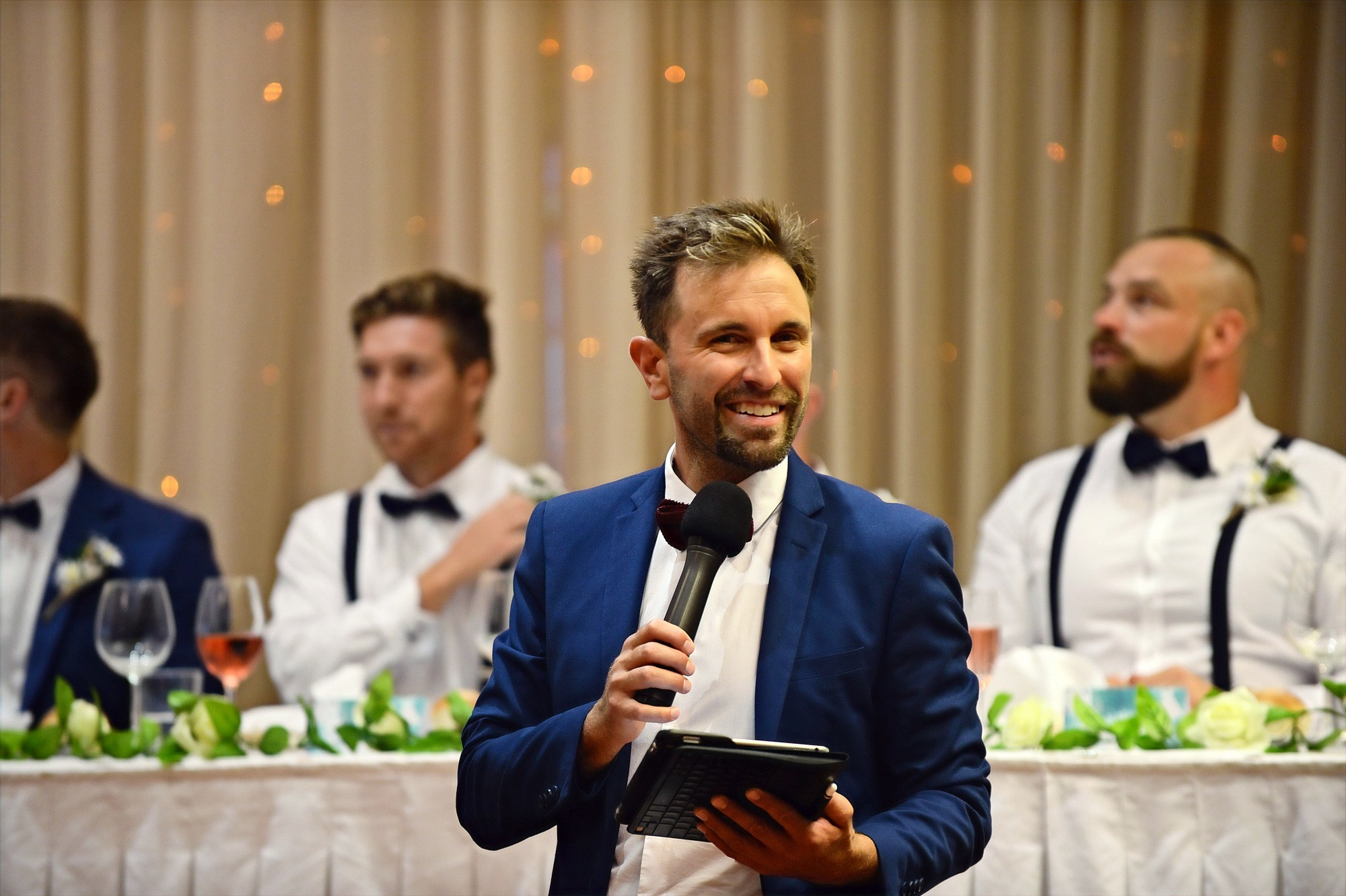 MC at wedding reception in Matakana, Auckland
