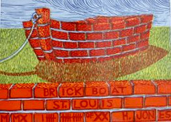Brick Boat, lino cut