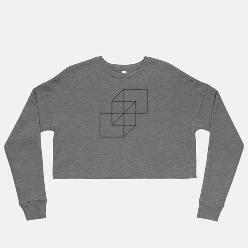 Geometric Square Shapes Crop Sweatshirt