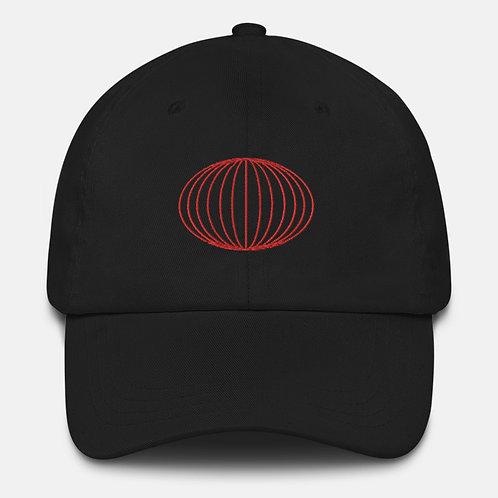 Red Striped Oval Shape Baseball Cap