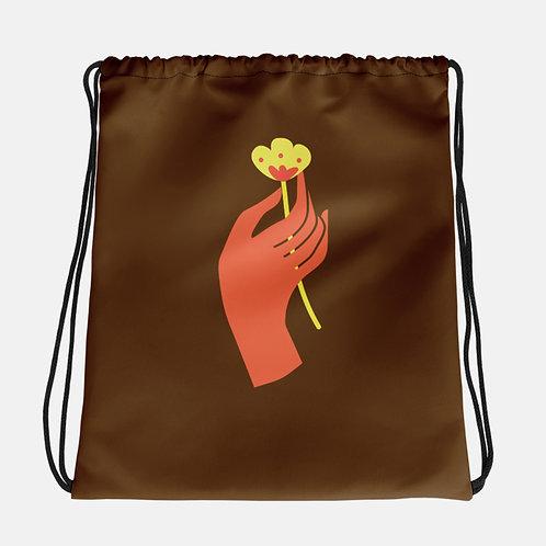 Handheld Flower Drawstring Bag