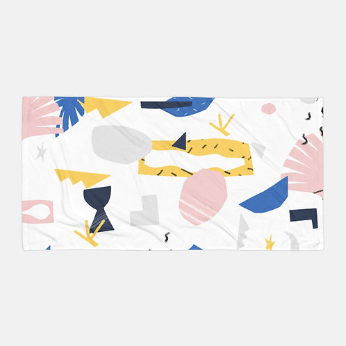Colorful Shapes White Towel