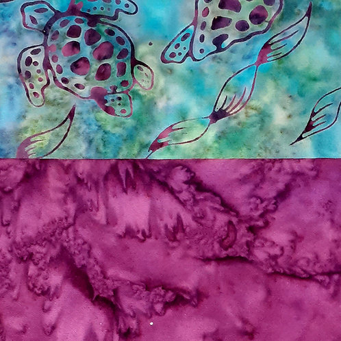 Magenta Turtle Batik Set