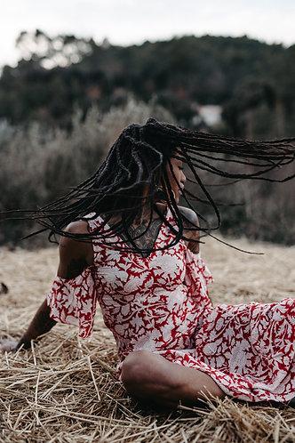 ANNABELL dress in Red garden