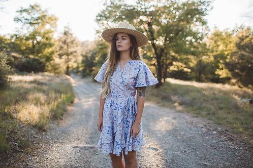 IONA short wrap dress in Purple rain PETITE