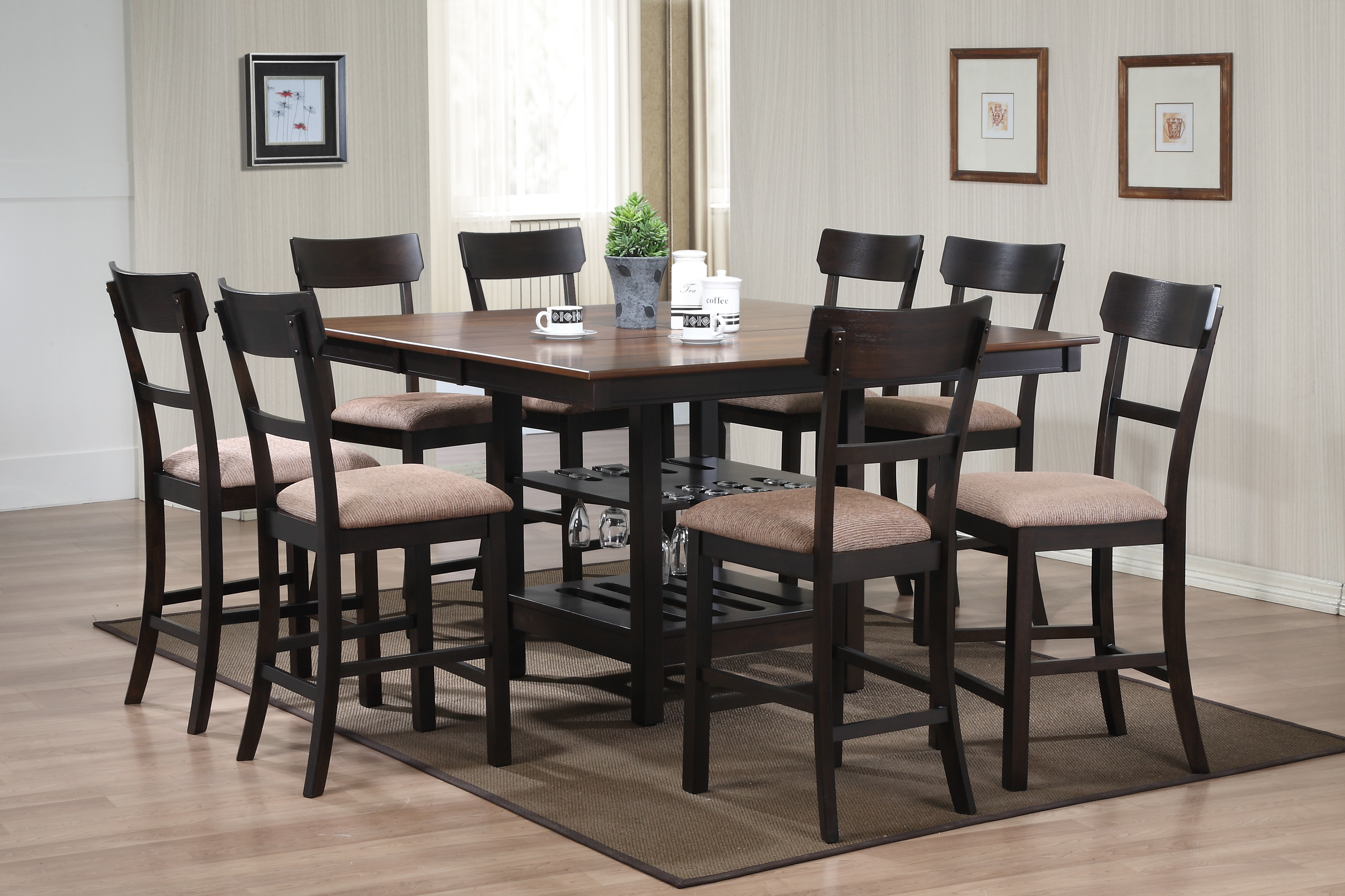 D1255 Keeton Counter Table Set (All Black)