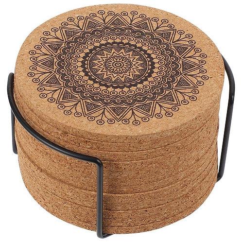 Mandala Design Round Shape Wooden Coaster Sets With Rack