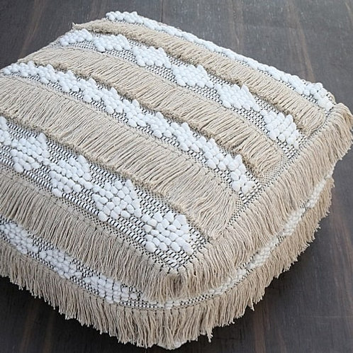 Natural fringe pouffe cover