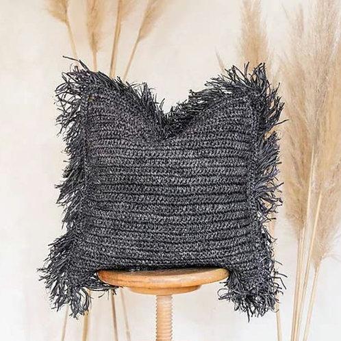 Raffia Coal cushion cover