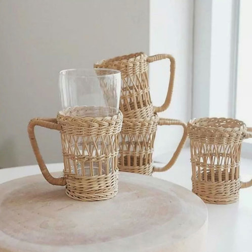 Rattan cup holders