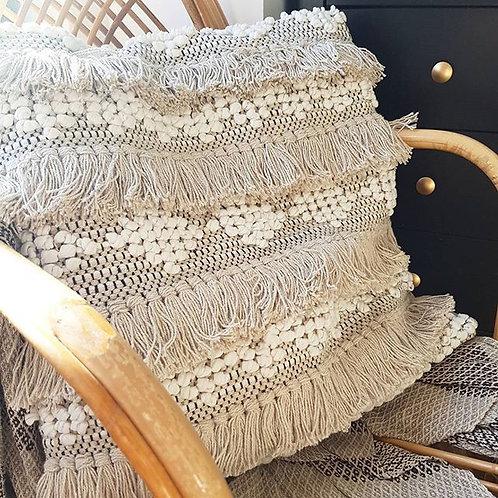 Boho fringe cushion cover