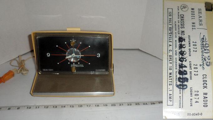 Sears Silvertone Alarm Clock-AM Radio Model 2072 Only Clock
